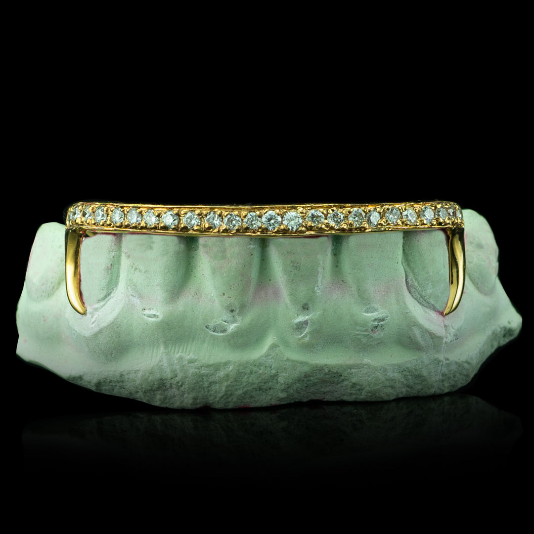 [CUSTOM-FIT] Kim K Style Diamond Bar Bottom Grillz