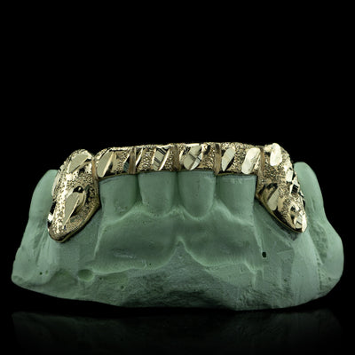 [CUSTOM-FIT] Solid Gold 6 Teeth Nugget Cut With Connecting Bridge Grillz Bar