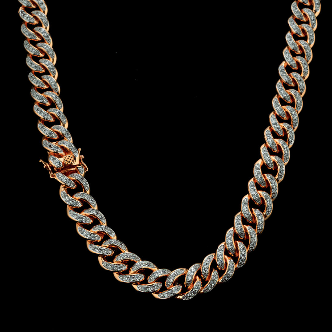 Diamond Cuban Chain in Rose Gold