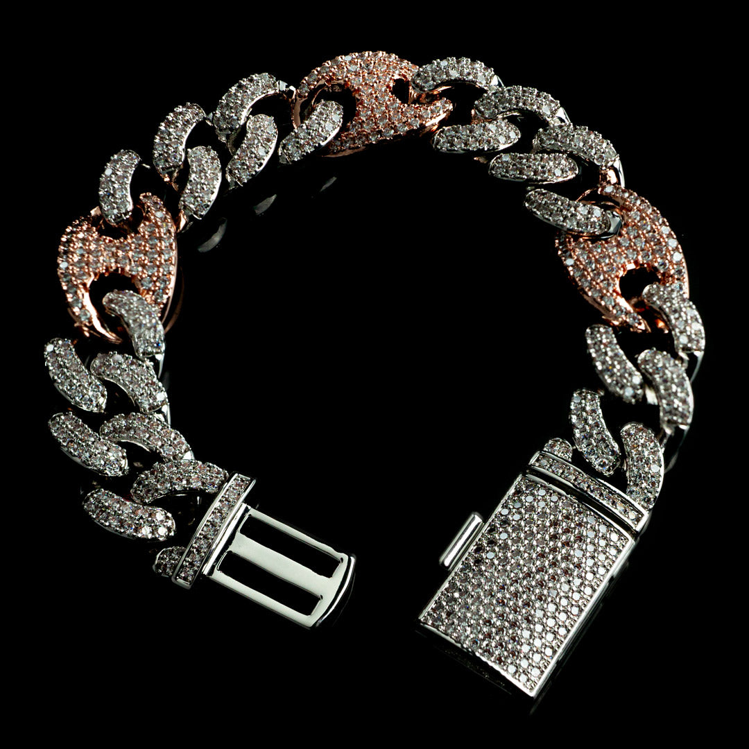 Diamond Mariner Cuban Bracelet in Two Tone Rose and White Gold
