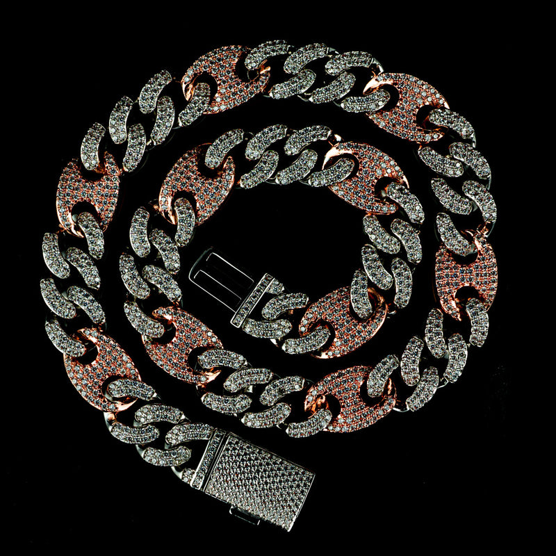 15mm Diamond Mariner Cuban Chain in Two Tone Rose Gold and White Gold
