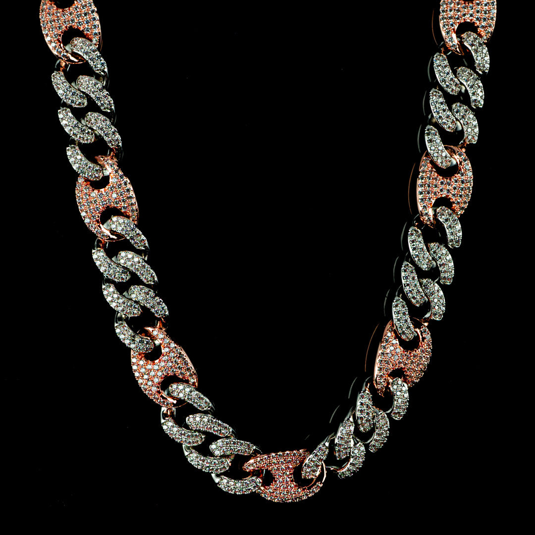Diamond Mariner Cuban Chain in Two Tone Rose Gold and White Gold