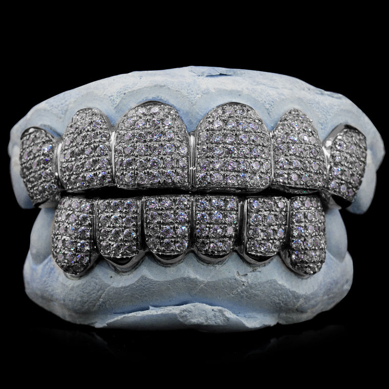 [CUSTOM-FIT] Solid .925 Sterling Silver Fully Iced Out Grillz (Straight Setting)