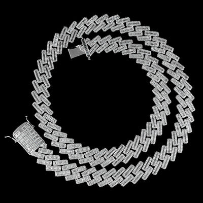 19mm Diamond Baguette Cuban Chain in White Gold