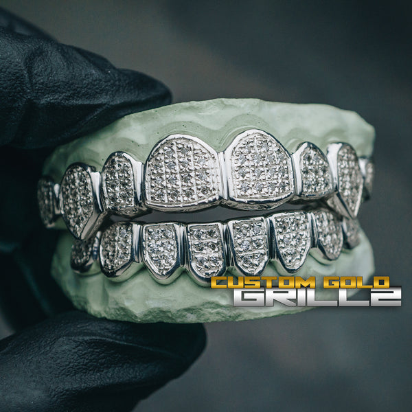 [CUSTOM-FIT] Solid .925 Sterling Silver Iced Out Grillz