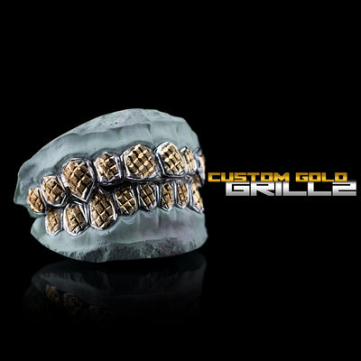 [CUSTOM-FIT] Solid Two Tone White Gold Diamond Cut with Diamond Dust Grillz
