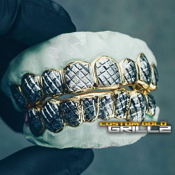 [CUSTOM-FIT] Solid Two Tone Gold Diamond Cut with Diamond Dust Grillz