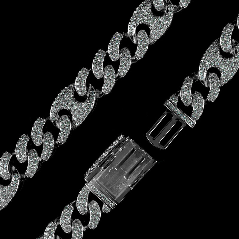 Diamond Mariner Cuban Bracelet in Solid Sterling Silver