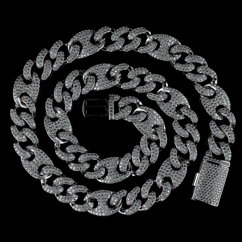 15mm/19mm Diamond Mariner Cuban Chain in White Gold