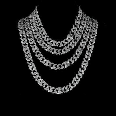 15mm Diamond Mariner Cuban Chain in White Gold