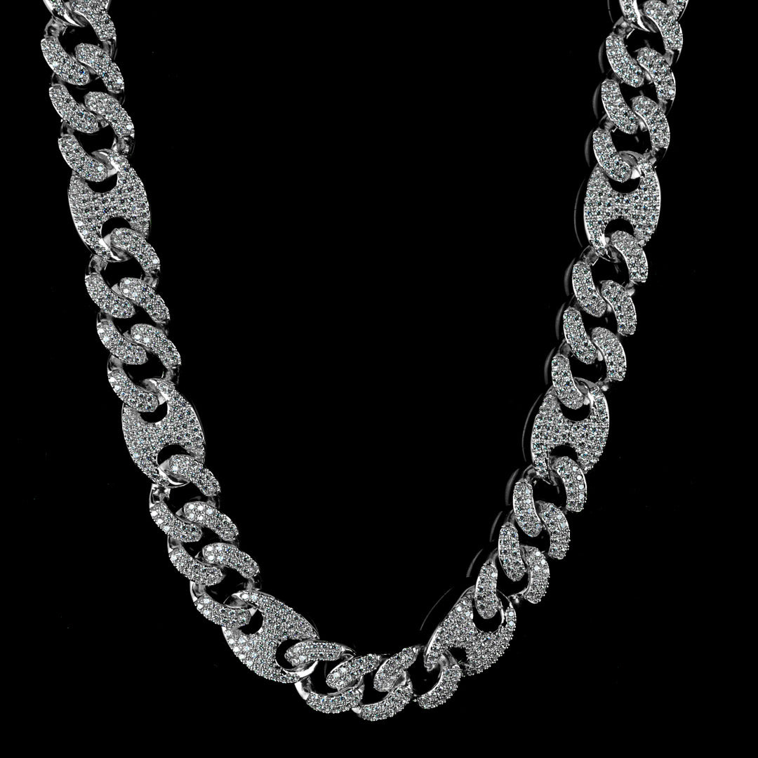 15mm Diamond Mariner Cuban Chain in Solid Sterling Silver