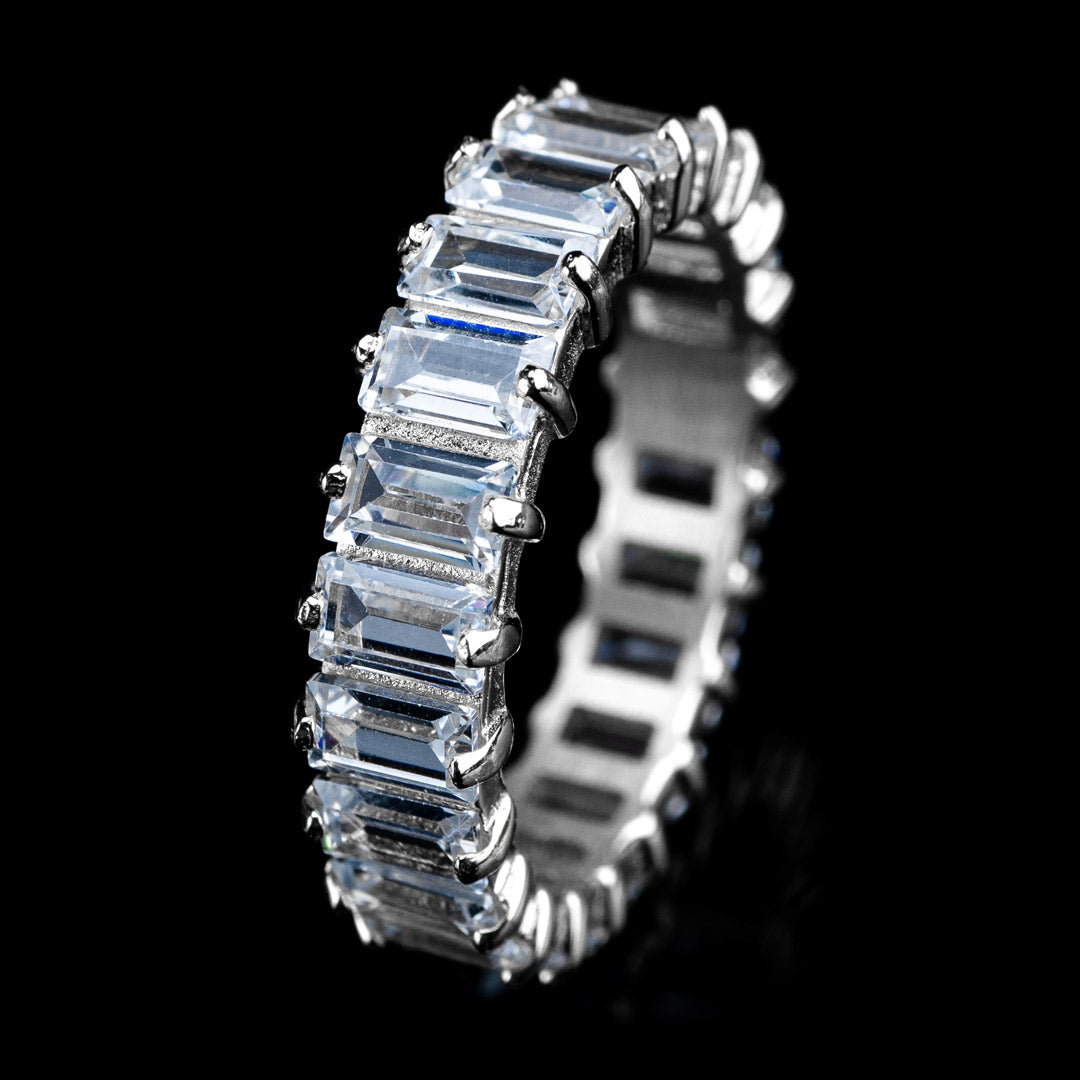 Diamond Baguette Cut Eternity Ring in White Gold