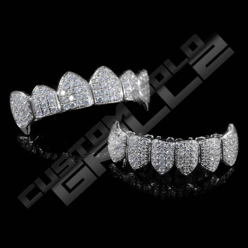 White Gold Plated Fanged CZ Cluster Premium Grillz Instantly-Made Main