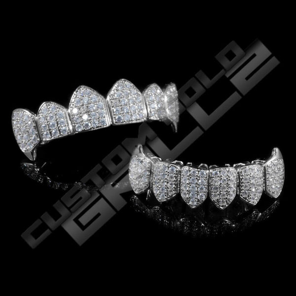 White Gold Plated Fanged CZ Cluster Premium Grillz Instantly-Made Top and Bottom View