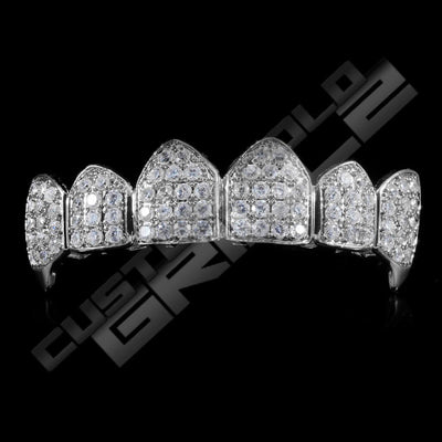 White Gold Plated Fanged CZ Cluster Premium Grillz Instantly-Made Top Front View