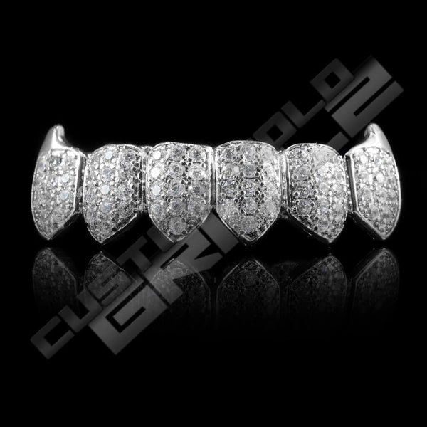 White Gold Plated Fanged CZ Cluster Premium Grillz Instantly-Made Bottom Front View