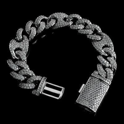 15mm Diamond Mariner Cuban Bracelet in Solid Sterling Silver