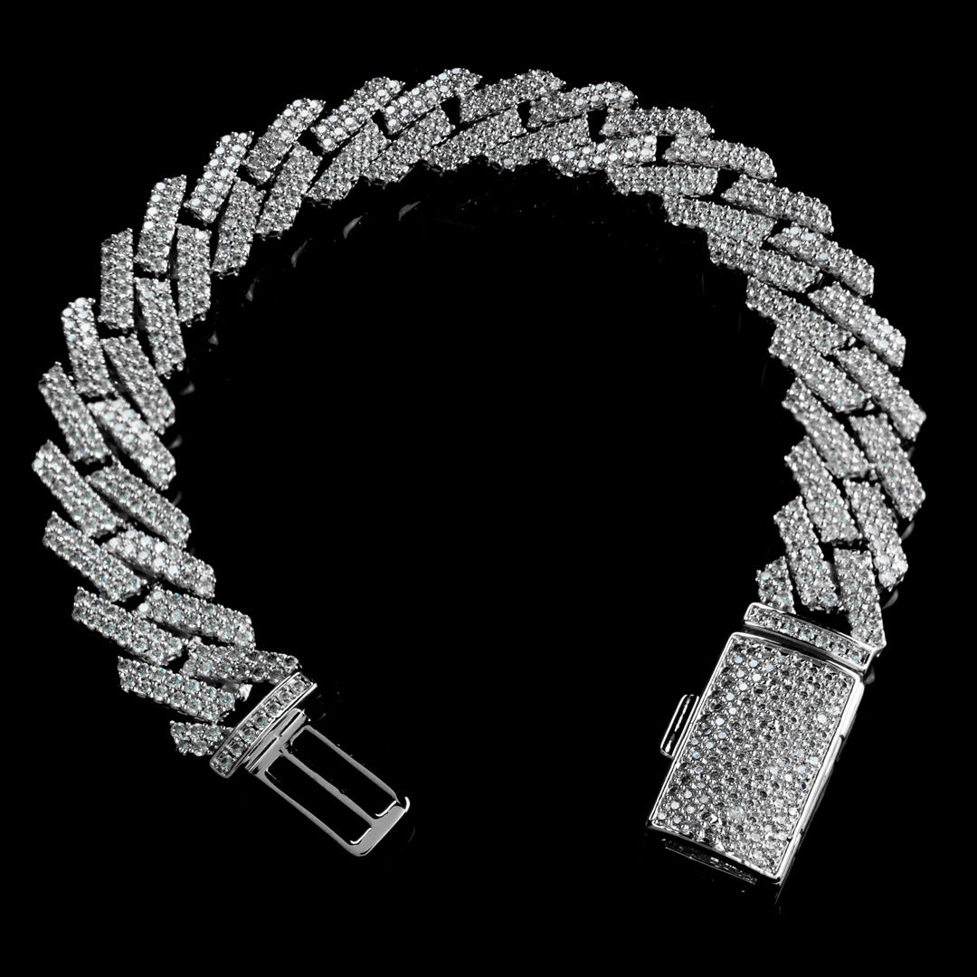 13mm Diamond Prong Set Cuban Bracelet in Solid Sterling Silver