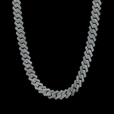 13mm Diamond Prong Set Cuban Chain in Solid Sterling Silver