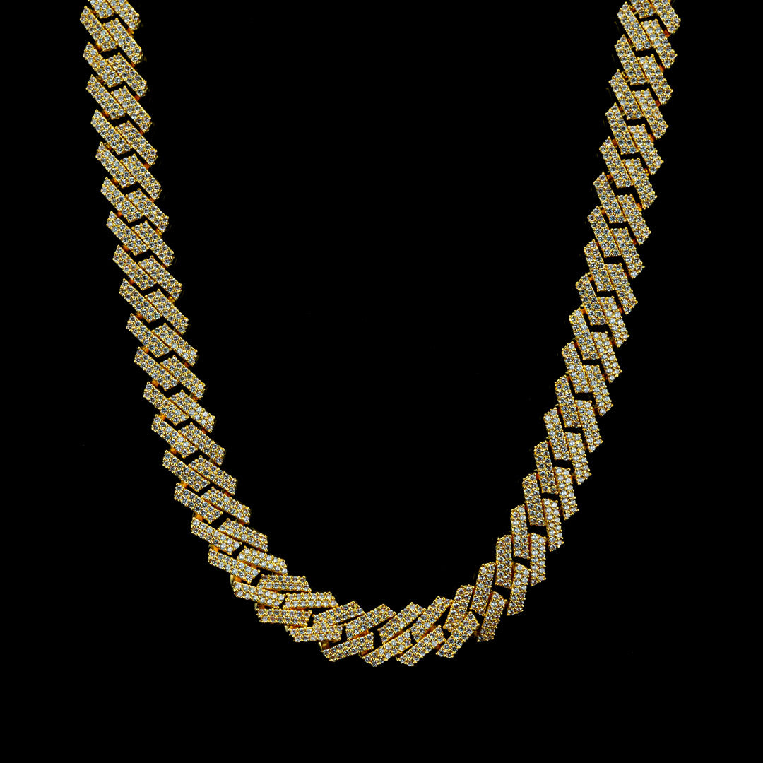Diamond Prong Set Cuban Chain in Yellow Gold