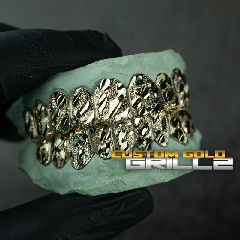 [CUSTOM-FIT] Solid Gold Nugget Cut Grillz