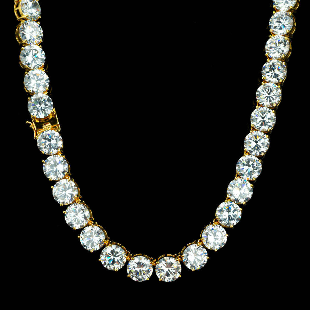 12MM Diamond Chain in Yellow Gold