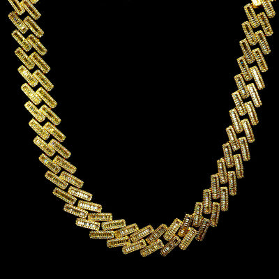 19mm Diamond Baguette Cuban Chain in Yellow Gold