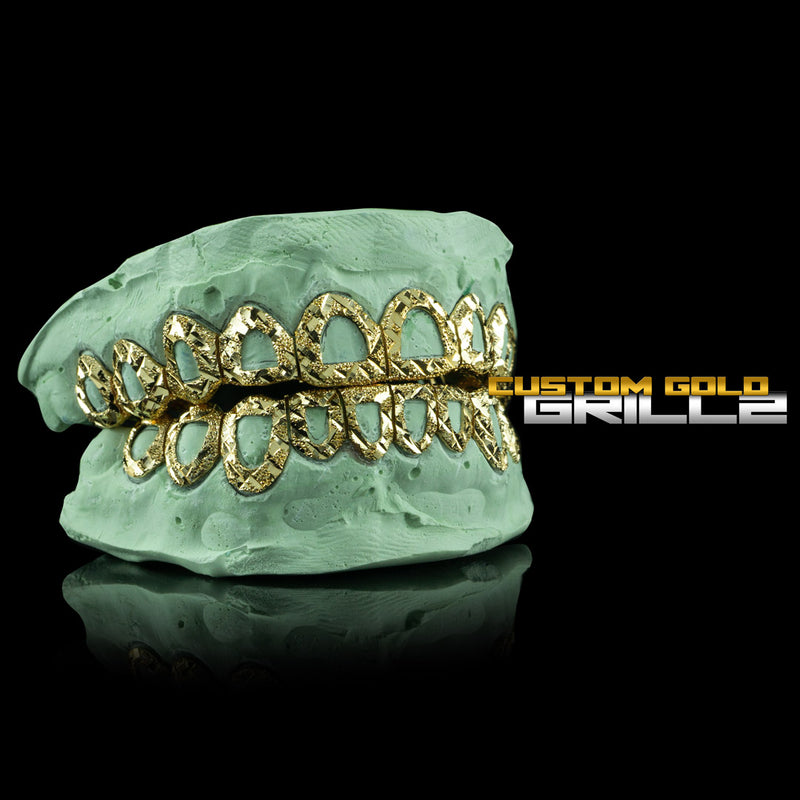 [CUSTOM-FIT] Solid Gold Open Face Diamond Cut With Diamond Dust Grillz