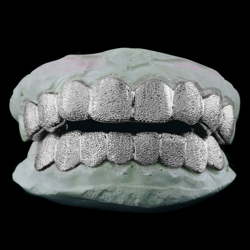 [CUSTOM-FIT] Solid .925 Sterling Silver Diamond Dust Grillz