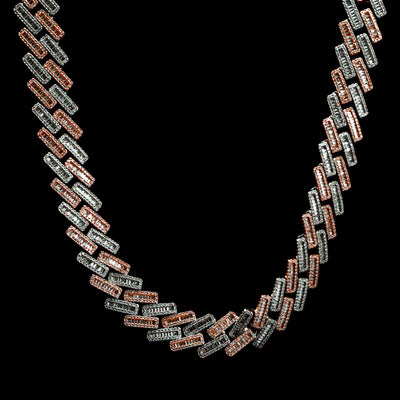 19mm Diamond Baguette Cuban Chain in Two Tone Rose Gold and White Gold