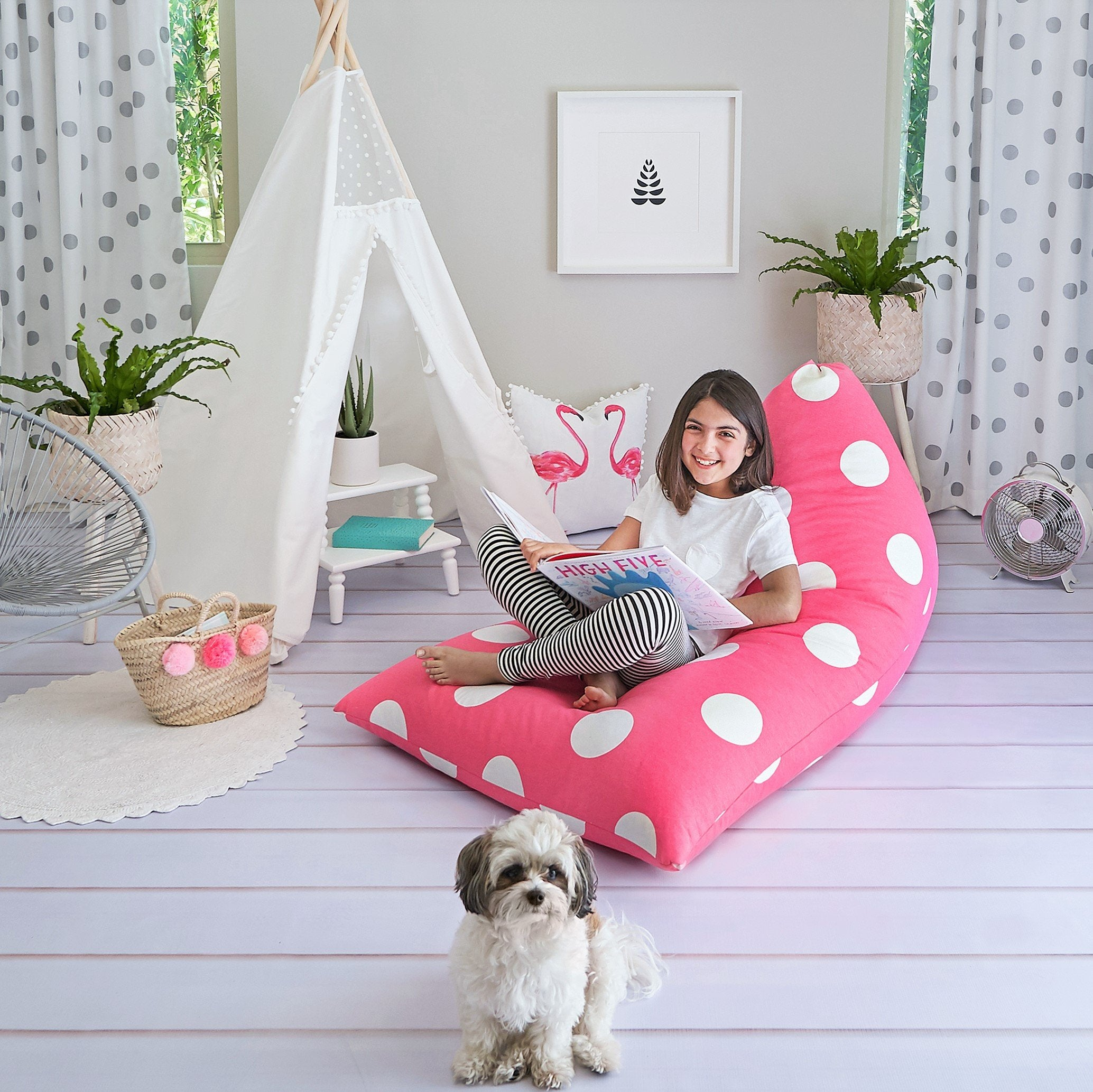 Hot Pink Polka Dot Bean Bag