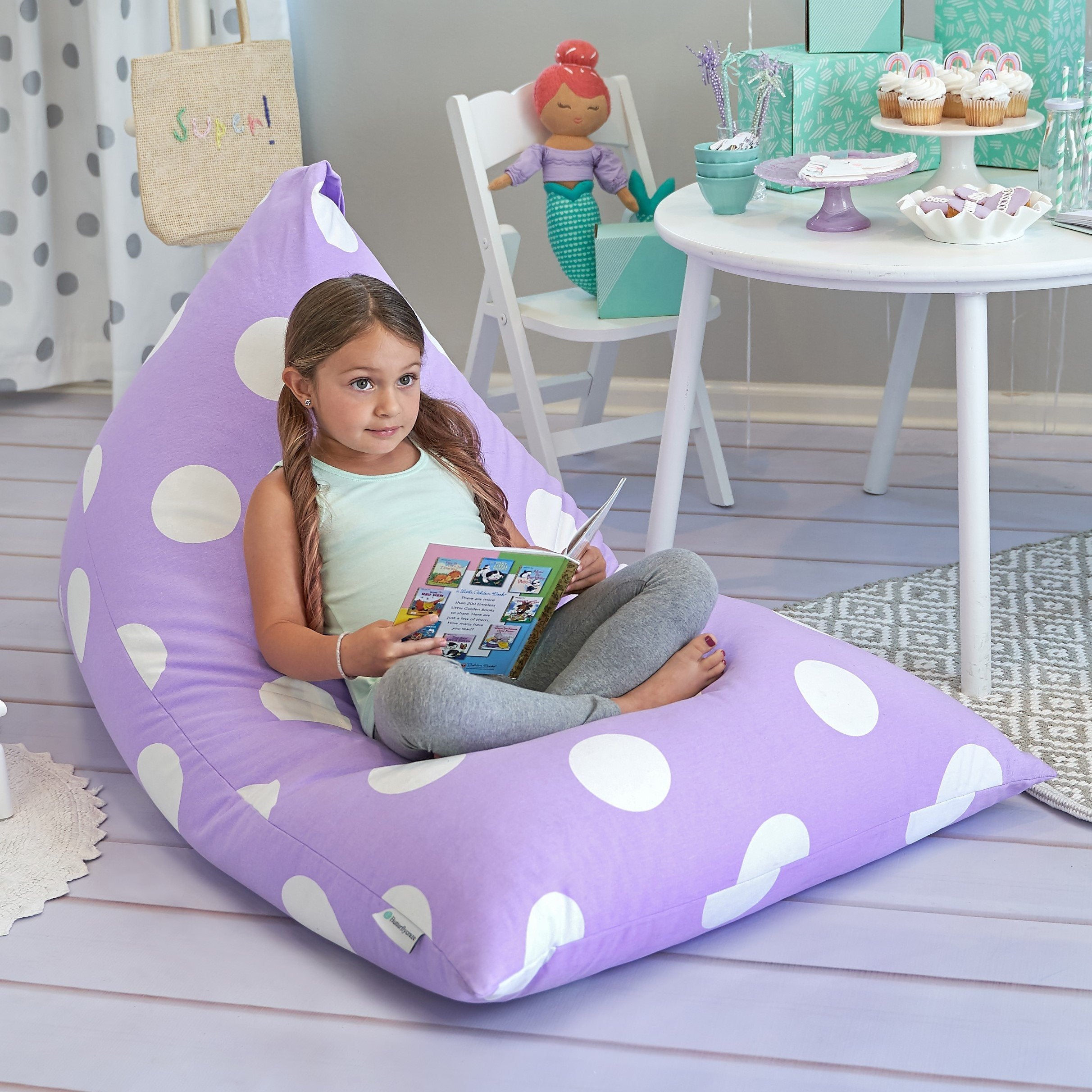Purple Polka Dot Bean Bag