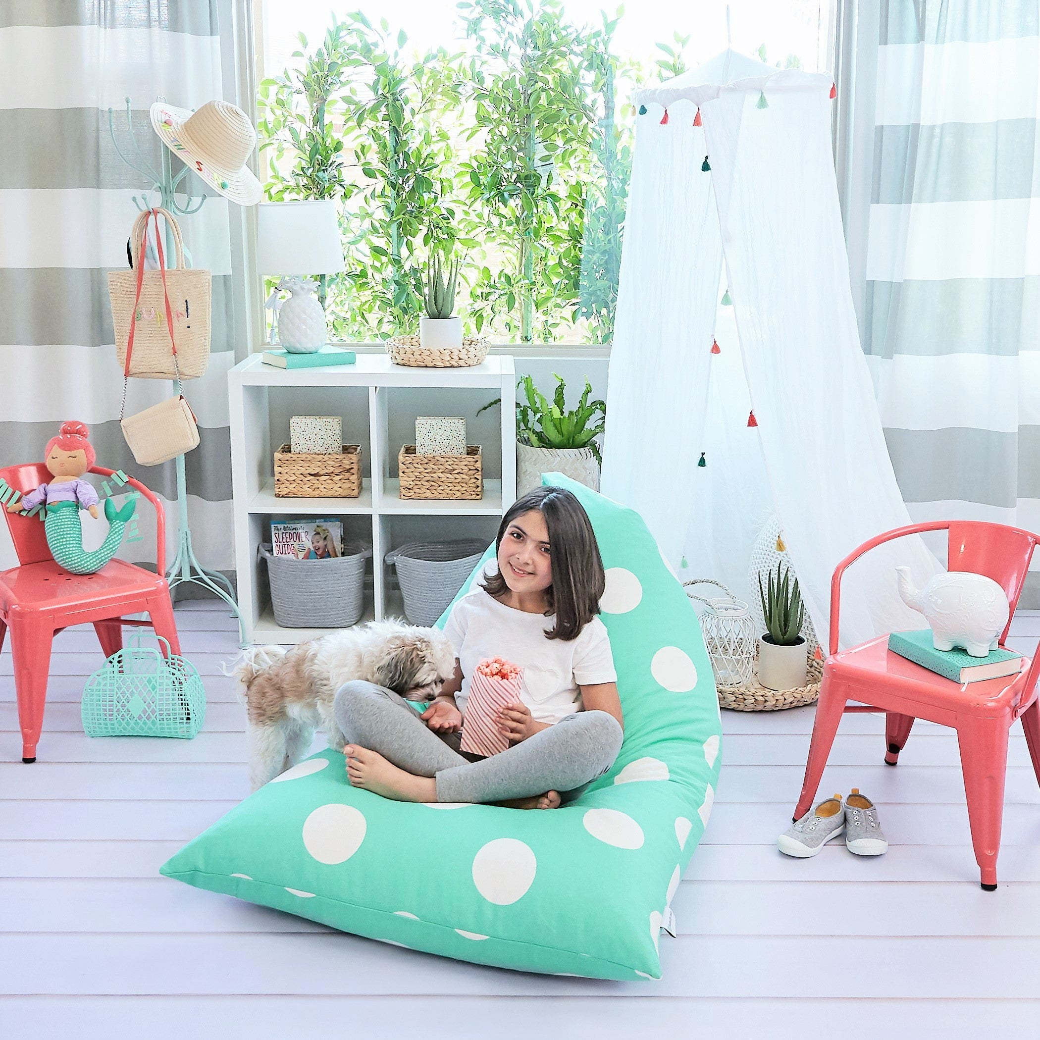 Teal Polka Dot Bean Bag