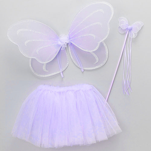 Purple Fairy Wing Wand Tutu Set