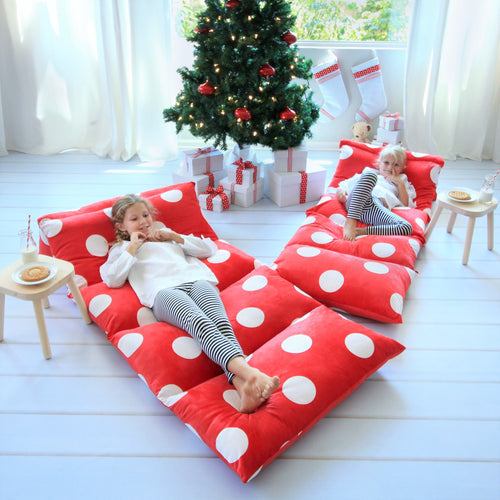 Red & White Polka Dot Pillow Bed Cover
