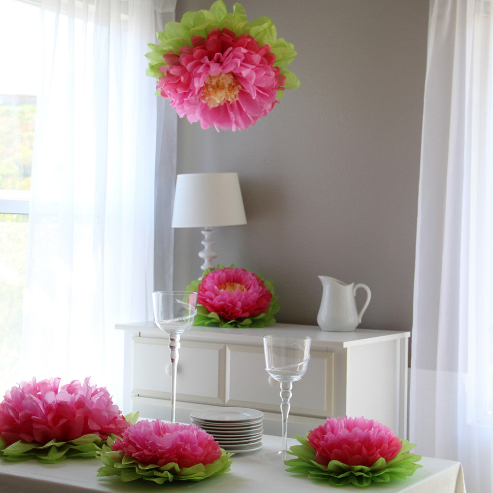 Multi Pink Paper Flower Set