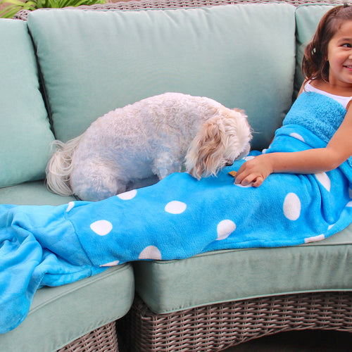 Blue Polka Dot Mermaid Tail Blanket