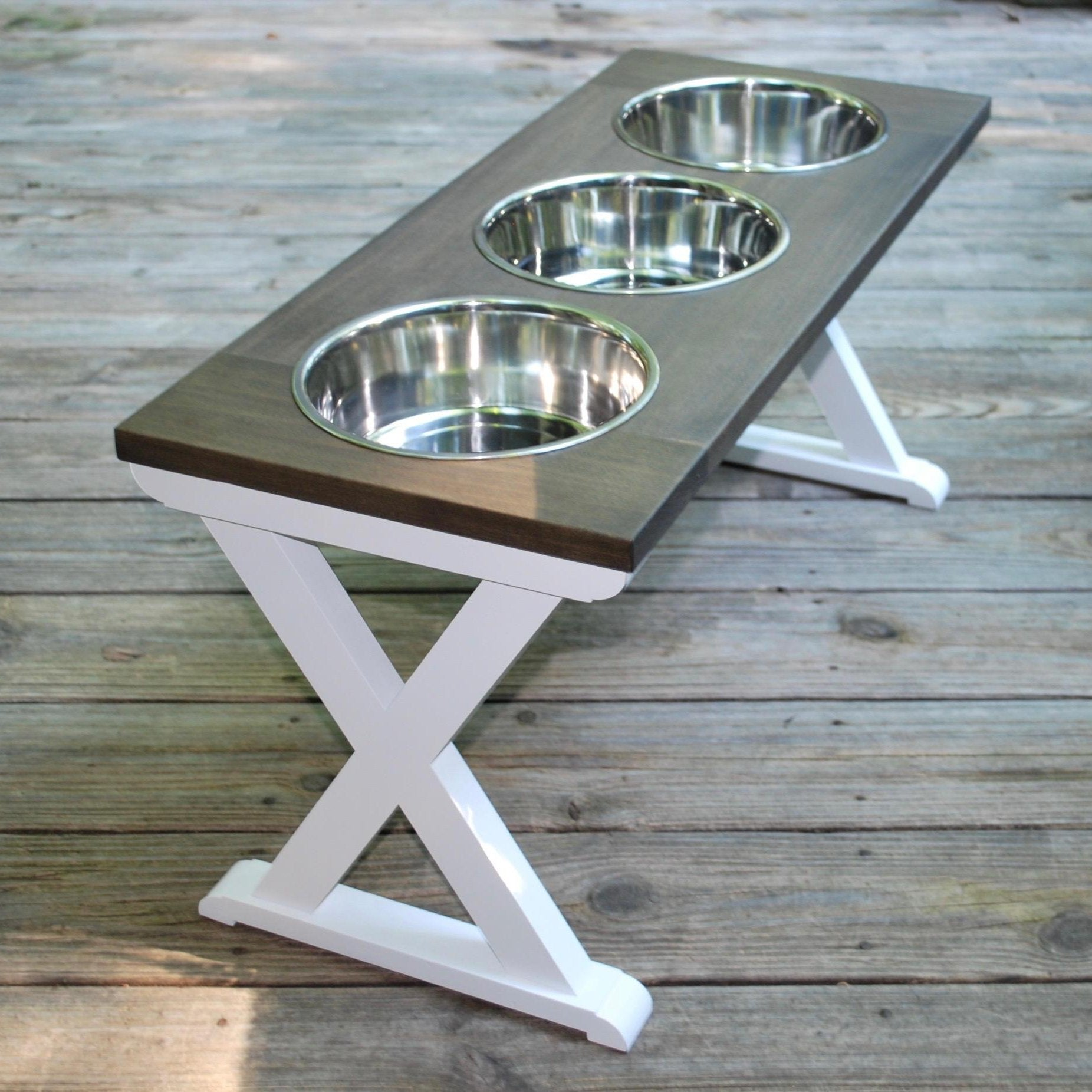 Large Elevated Dog Bowl Stand Raised Dog Bowl X Pattern 10 Tall \u2013 Dog Lover Gift Farmhouse Table Dog Mom Gift 3 Bowls