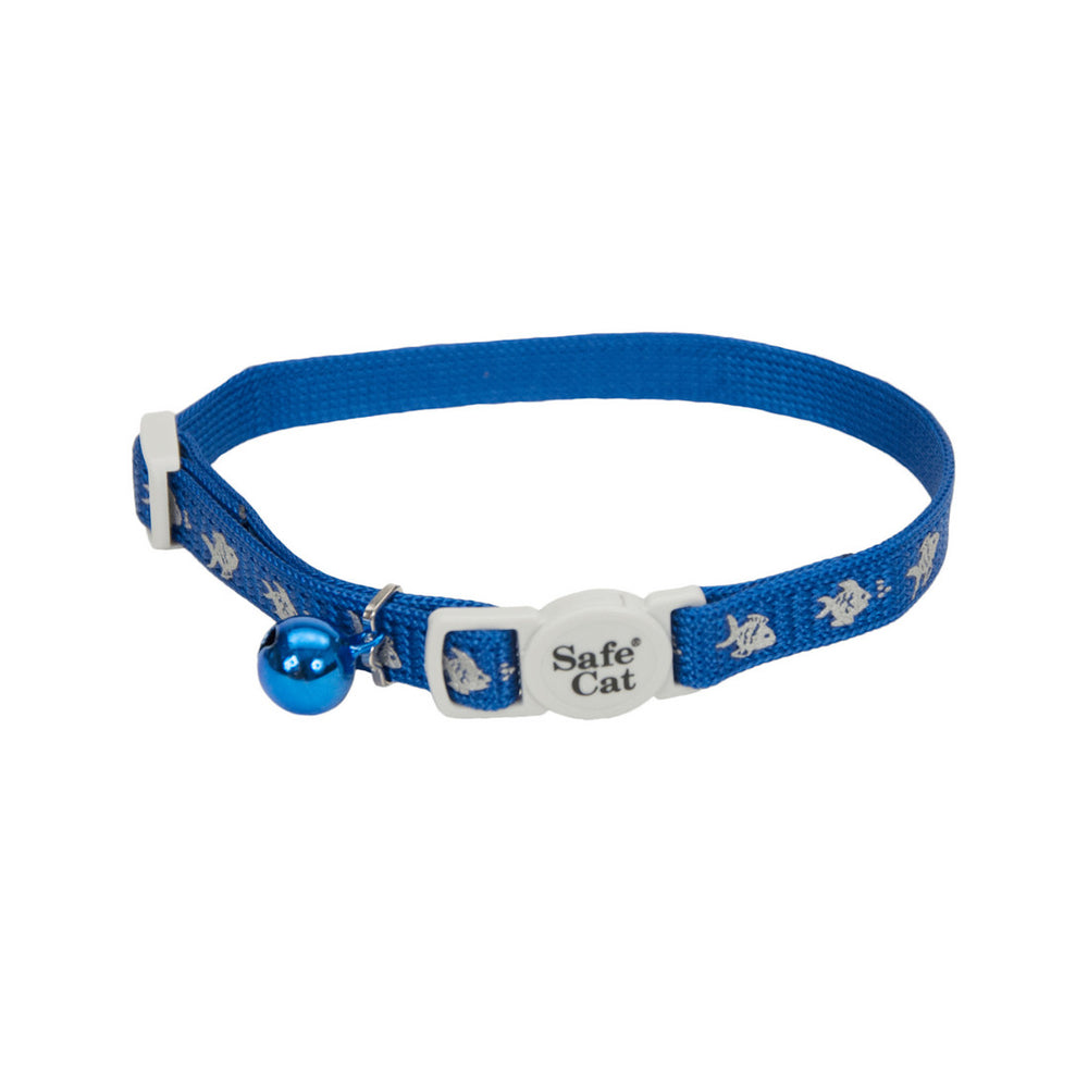 Reflective Snag-Proof Nylon Adjustable Breakaway Collar, Blue or Black