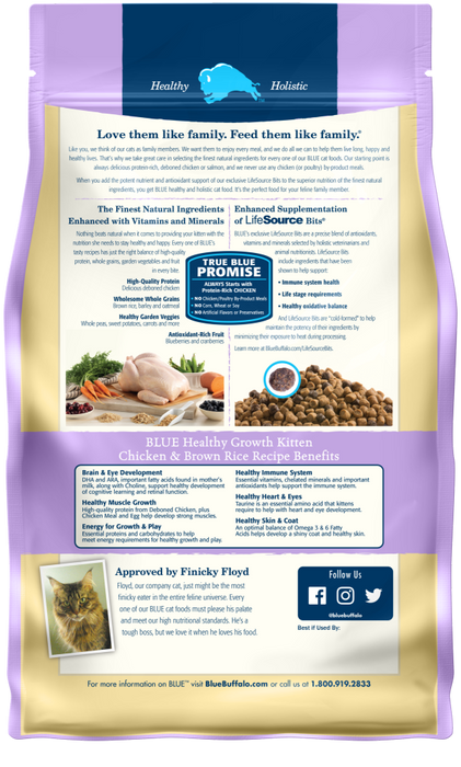 Blue Buffalo Healthy Growth Natural Chicken & Brown Rice Kitten Dry Cat Food