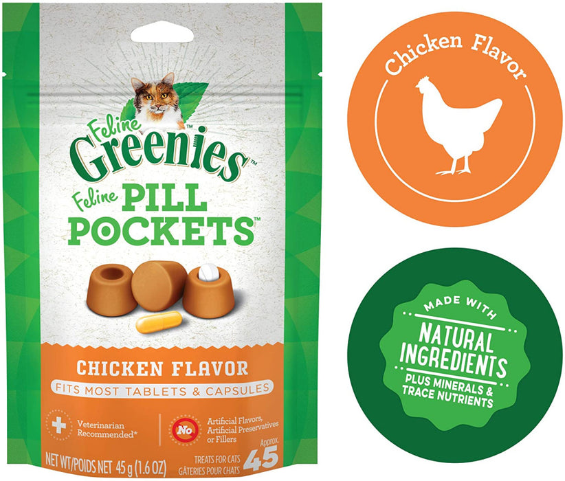 Greenies Pill Pockets Feline Chicken Flavor Cat Treats