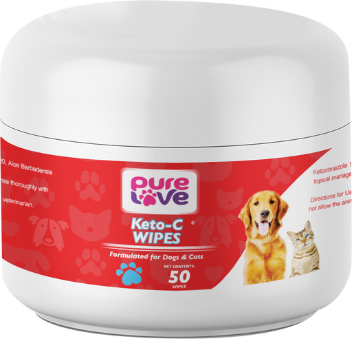 Pure Love Ketoconazole 1%, Chlorhexidine 2% Antiseptic Wipes for Dogs and Cats