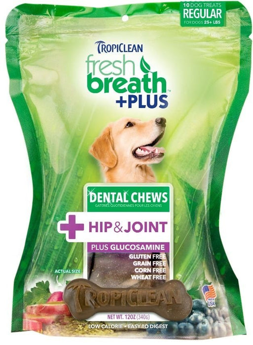 Tropiclean Fresh Breath Plus Hip and Joint Dental Treats for Dogs