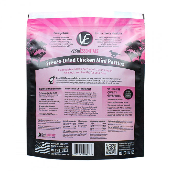 Vital Essentials Freeze Dried Grain Free Chicken Mini Patties Entree for Dogs Food