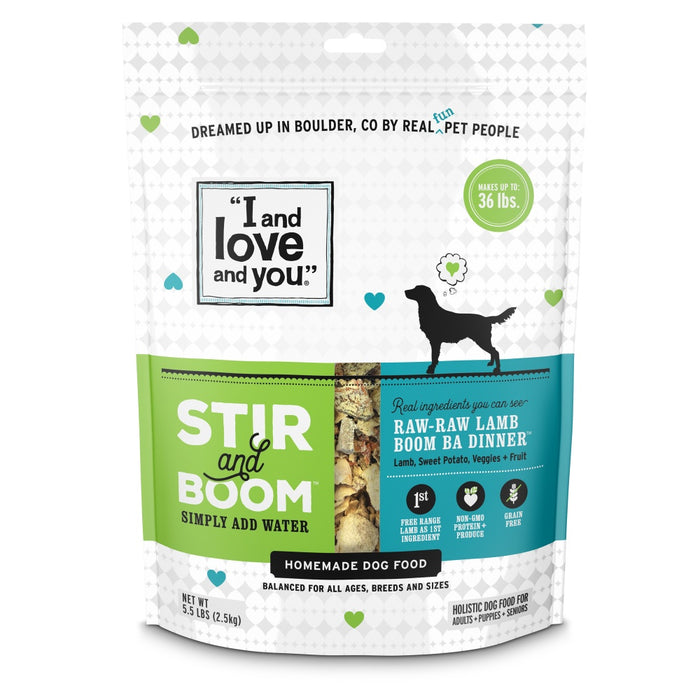 I and Love and You Grain Free Stir and Boom Raw Raw Lamb Boom Ba Dehydrated Raw Dog Food