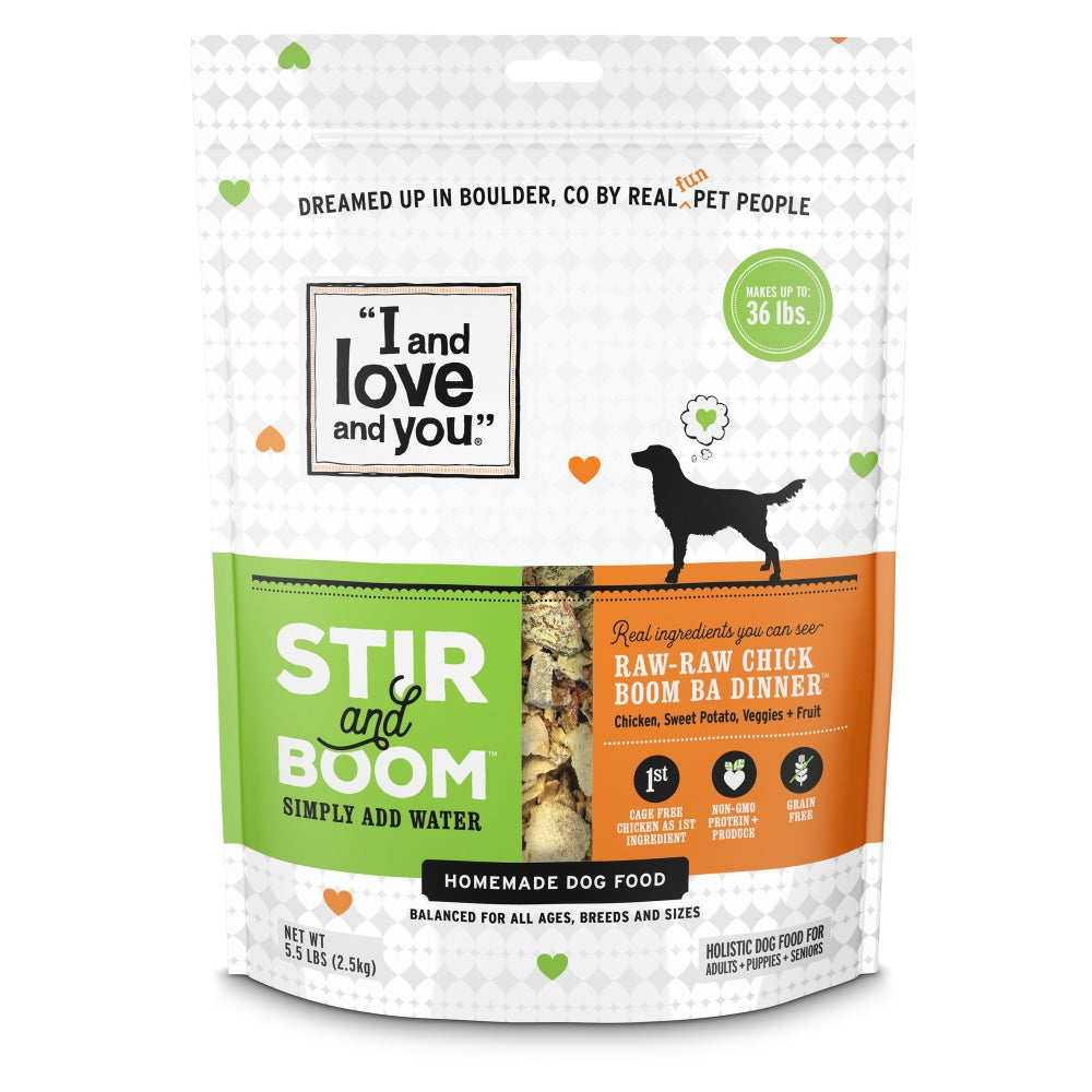 I and Love and You Grain Free Stir and Boom Raw Raw Chick Boom Ba Dehydrated Raw Dog Food