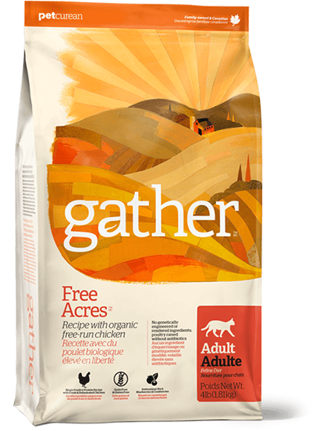 Petcurean Gather Free Acres Organic Free-Run Grain Free Chicken Recipe Adult Dry Cat Food