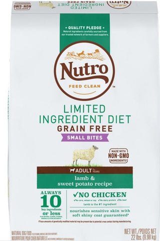 Nutro Limited Ingredient Diet Grain Free Small Bites Adult Lamb and Sweet Potato Dry Dog Food