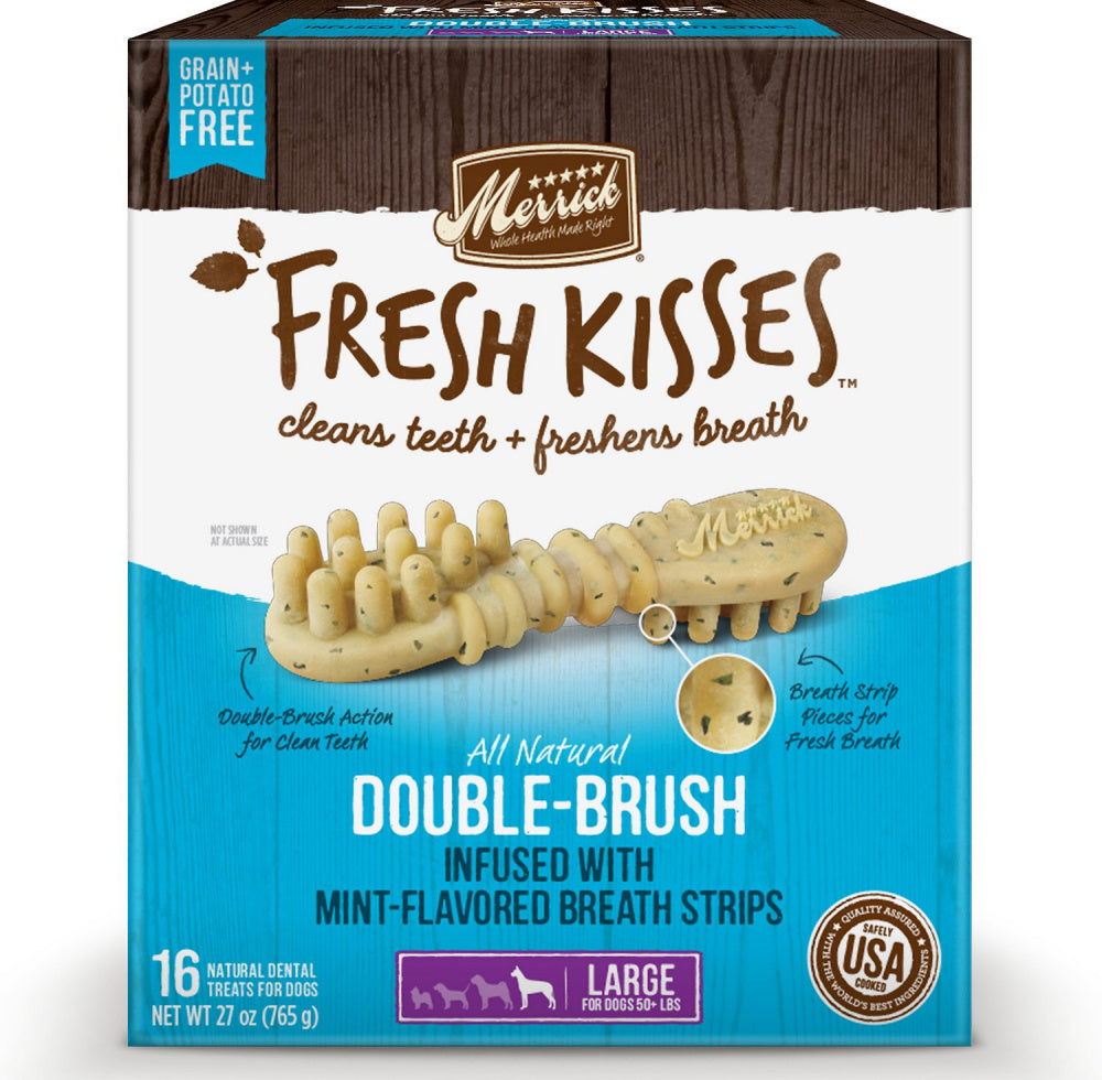 Merrick Fresh Kisses Grain Free Mint Breath Strips Large Dog Treat Box