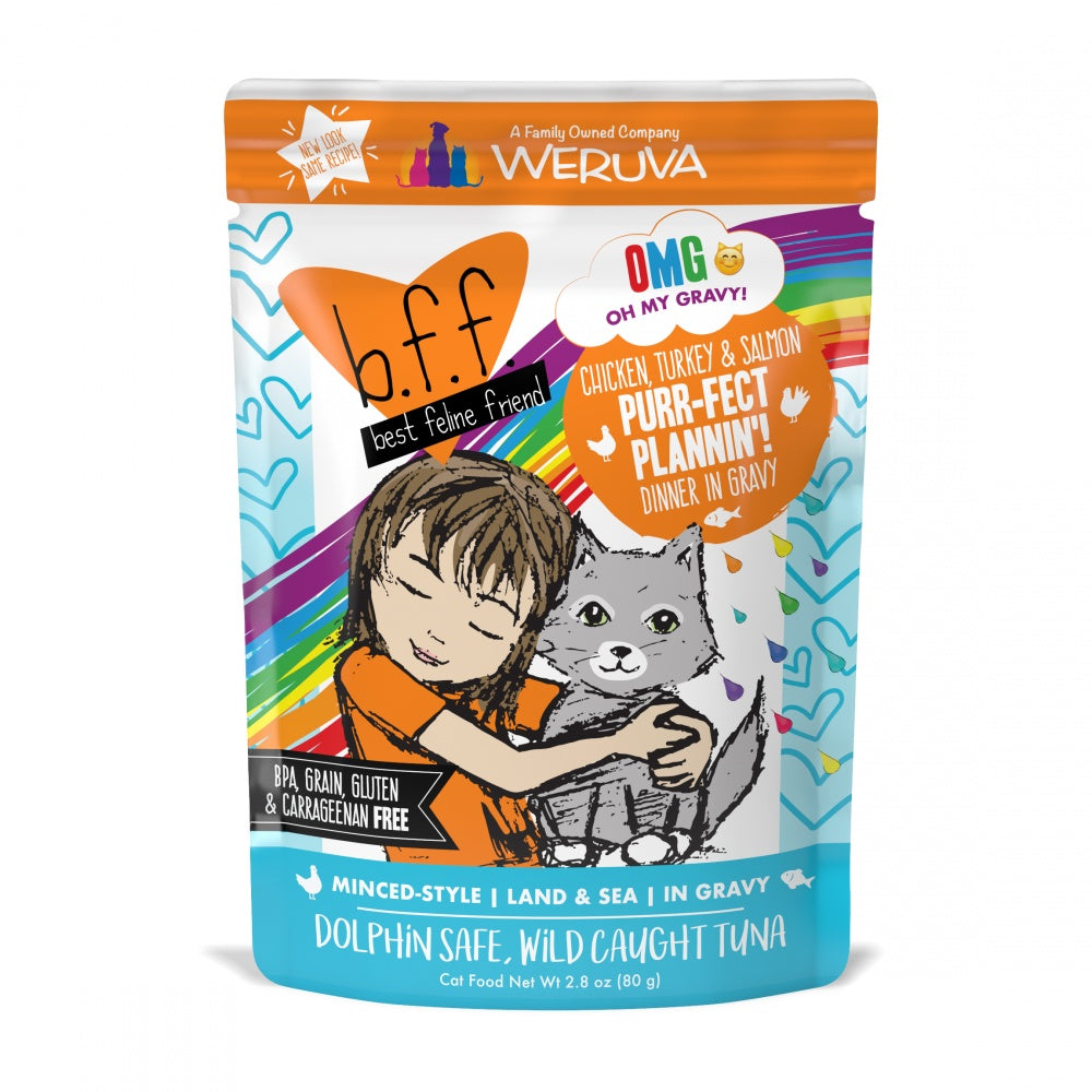 Weruva BFF Oh My Gravy Purr-Fect Plannin Grain Free Chicken, Tuna, & Salmon in Gravy Wet Cat Food Pouch